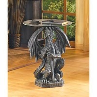 Stunning Guarding Dragon Accent Table
