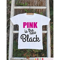 Kid's Cancer Awareness Outfit - Pink is the New Black Onepiece or Tshirt - Race Team Outfit - Fight Cancer Shirt for Babies, Toddlers, Youth