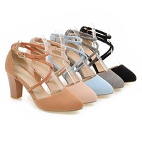 Round Toe Summer Sandals Pumps High-heeled Shoes Woman