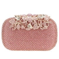 Fawziya Flower Purses With Rhinestones Crystal Evening Clutch Bags-Pink