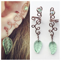 Woodland fairy ear cuff in copper with green leaf dangle, wood elf ears, poison ivy cosplay, rustic earrings