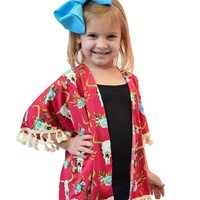 Little Girl  Cow Skull Kimono with Tassel Sleeves