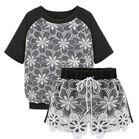 Black Floral Embroidered Mesh Panel Top and Drawstring Waist Shorts