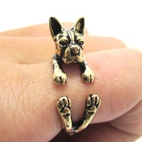 Realistic Boston Terrier Puppy Shaped Animal Wrap Ring in Shiny Gold   US Sizes 5 to 9