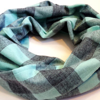 Mint & Black Chunky Flannel Plaid Scarf Womens Fall Fashion Infinity Scarves Girls Winter Green Plaid Circle Scarf Holiday Scarf Gift
