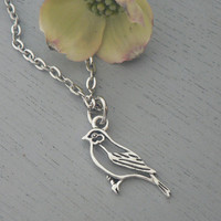 Adorable Bird Necklace Spring Jewelry Silver  Woodland Pendant Everyday, Minimal, Jewelry, Gift For Her