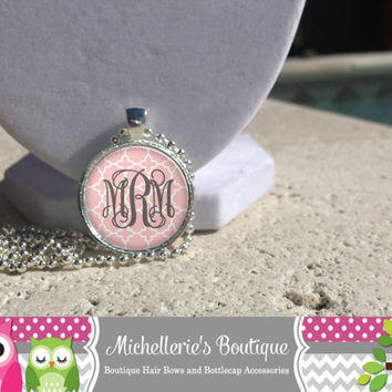 Shabby Chic Light Pink Quatrefoil Monogram Pendant, Monogram Bangle, Monogram Cuff Bracelet, Monogram Jewelry, Monogram Accessories,