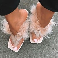 Slippers Women Furry Slides Fashion Square Toe Transparent Perspex Heels Rhinestone Sandals Female Flip Flop Shoe