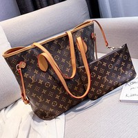 LV Louis vuitton fashion lady printed patchwork color hand-held two-piece shoulder bag