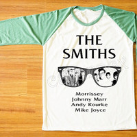 The Smiths Morrissey UK 80s Alternative Pop Rock Shirt Green Sleeve Shirt Women T-Shirt Men T-Shirt Unisex T-Shirt Baseball Tee Shirt S,M,L