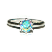 Mercury Mist Topaz, Proposal Ring, Promise Ring, 1 Carat Solitaire