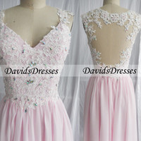 Pink Lace Prom Dresses Long, Beaded Backless Prom Dress 2016