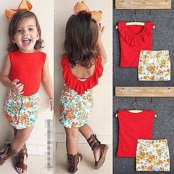 Kids Baby Girls Toddler Clothes Sets Cute Fashion Red Ruffled T-Shirt Flower Pencil Skirt Summer Cool 2Pcs Outfits 1 2 3 4 5 6 7