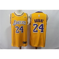 Lakers 24 Kobe yellow Nike 19 fan NBA Jersey