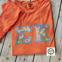 Greek letter shirt sigma kappa letter shirt comfort colors long sleeve t-shirt custom made by Collyn Raye