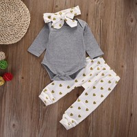 3pcs Kid Children Baby Girls Clothes Long Sleeve Infant Tops Pants Love Pattern Headband Baby Girl Outfit Set Clothing