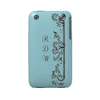 Medieval Birds and Leaves Monogram Iphone 3 Cases from Zazzle.com