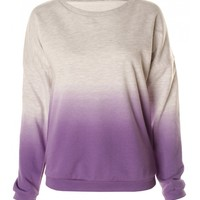 Grey & Purple Ombre Dip Dye Lightweight Cotton Jumper -  from Lavish Alice UK