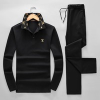 LV Louis Vuitton 2018 autumn and winter new trend men's sports and fitness two-piece black
