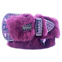 b.b. Simon Grape Purple Fur Swarovski Crystal Belt