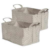 PE Coated Woven Paper Bins Rect. Large 16x12.5x9.5 SET/2