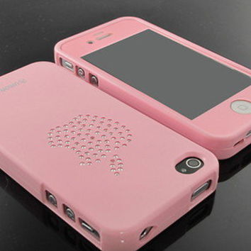 New Premier Pink swarovski silicone case cover+Pink Screen for iPhone 4 4S 4G