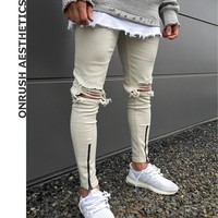 OA 2018 New Men's Fashion Skinny Jeans Casual Slim Fit Stretch Denim Pencil Pants With Knee Rips For Male Beggar Pants