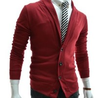 TheLees (GD132) Mens Slim Fit Collar Point Button Cardigan Wine US XS(Tag size M)