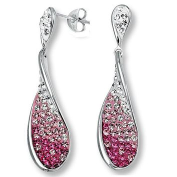 Sterling Silver Tear Drop  Dangle Earrings made with Pink and White Swarovski Crystals