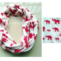 Red White Animal Elephant Infinity Scarf, Hot Sale Fashion Women Knit Jersey Cotton Circle Scarves, Ring = 1958118724
