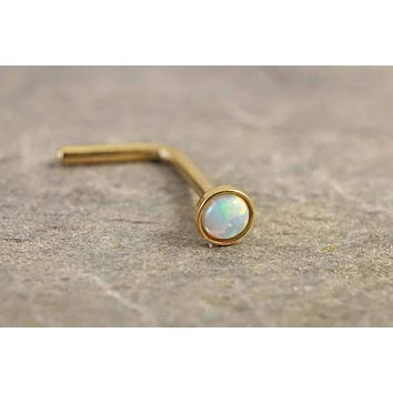 White Opal Gold Nose Ring L Bend