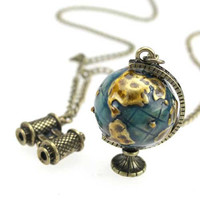 Travel Around Globe necklace telescope movable gift for her him birthday holiday valentines day