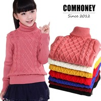 Sweater For Girls Boys Winter Turtleneck O-Neck Warm Knit Children Sweaters 2-14T Kids Spring Tops Baby Cardigan Bebe Clothes