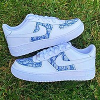 Nike Air Force 1 x Dior Print Contrast Shoes Trending Shoes White+Blue