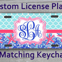 Custom Monogrammed personalized license plate. Lily Pulitzer She She Shell Blue Quatrafoil inspired Vanity car tag. Gifts under 20 #1109