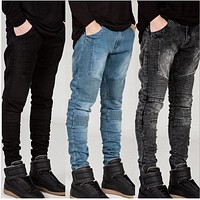 Mens Skinny jeans men Runway Distressed slim elastic jeans denim Biker jeans hip hop pants Washed Pleated jeans blue