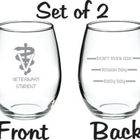 Veterinary Vet Veterinarian Student Glass Set of 2 Etched FREE Personalization up to 4 words