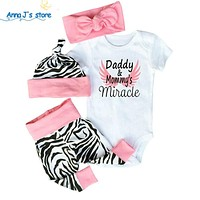 Clothing for newborn girls toddlers short sleeve white body Tops + Zebra pants + headband + cap dress for babies set