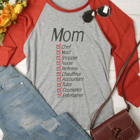 Mom Chef Maid Shopper Nurse Baseball T-Shirt - Bellelily