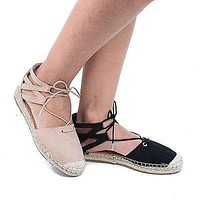 Maldives03S by Bamboo, Braided Lace Up Cut Out Ankle Cuff Espadrille Flats