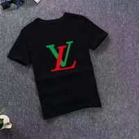 """Louis Vutitton LV"" Unisex Lover Casual Letter Print Short Sleeve T-shirt Shirt Top"