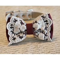 Marsala Dog Bow Tie, color of year, Pet wedding accessory, Marsala wedding