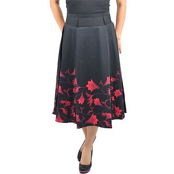 60's vintage red floral flare skirt with Big Bow | Black red floral skirt