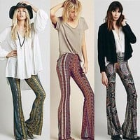 2016 Newly Hot Sale Boho Vintage Pants Bell Bottom Wide Leg Pants Trousers Paisley Print Stretch Flare Boho Hippie Style Pants