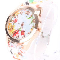 Red Floral Print Rubber Strap High Polish Trim Round Face Watch