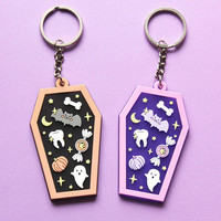 Kawaii Coffin Translucent PVC Keychain - Orange + Black or Pink + Purple