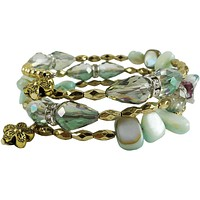 Memory Wire Wrap Bangle Mint Green/Gold