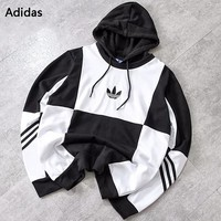 Adidas New fashion bust embroidery leaf and back letter print contrast color couple hooded long sleeve sweater Black