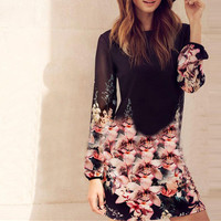 Women Chiffon Slim Long Sleeve One Piece Dress a13074