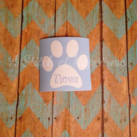 Personalized Paw Print Car Decal - Paw Print Dog Name Decal